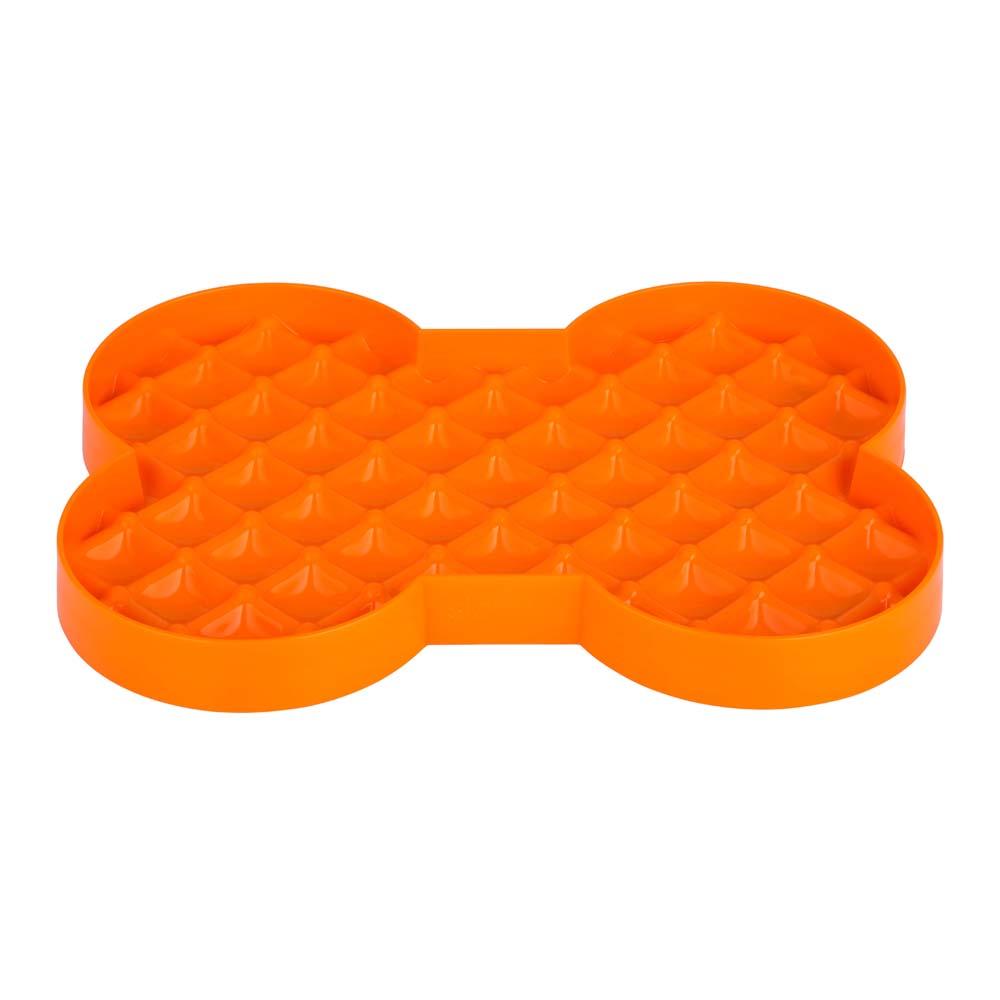 orange bone shaped dog bowl