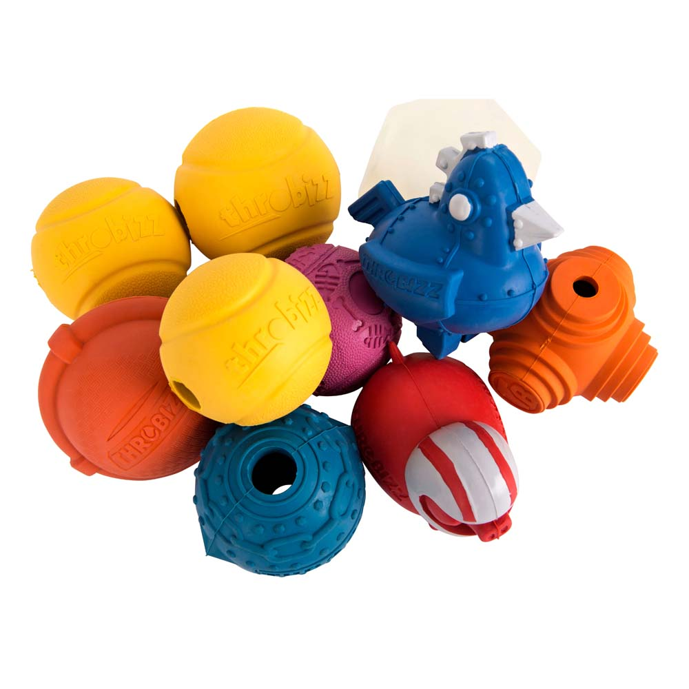 a colourful group of dog balls