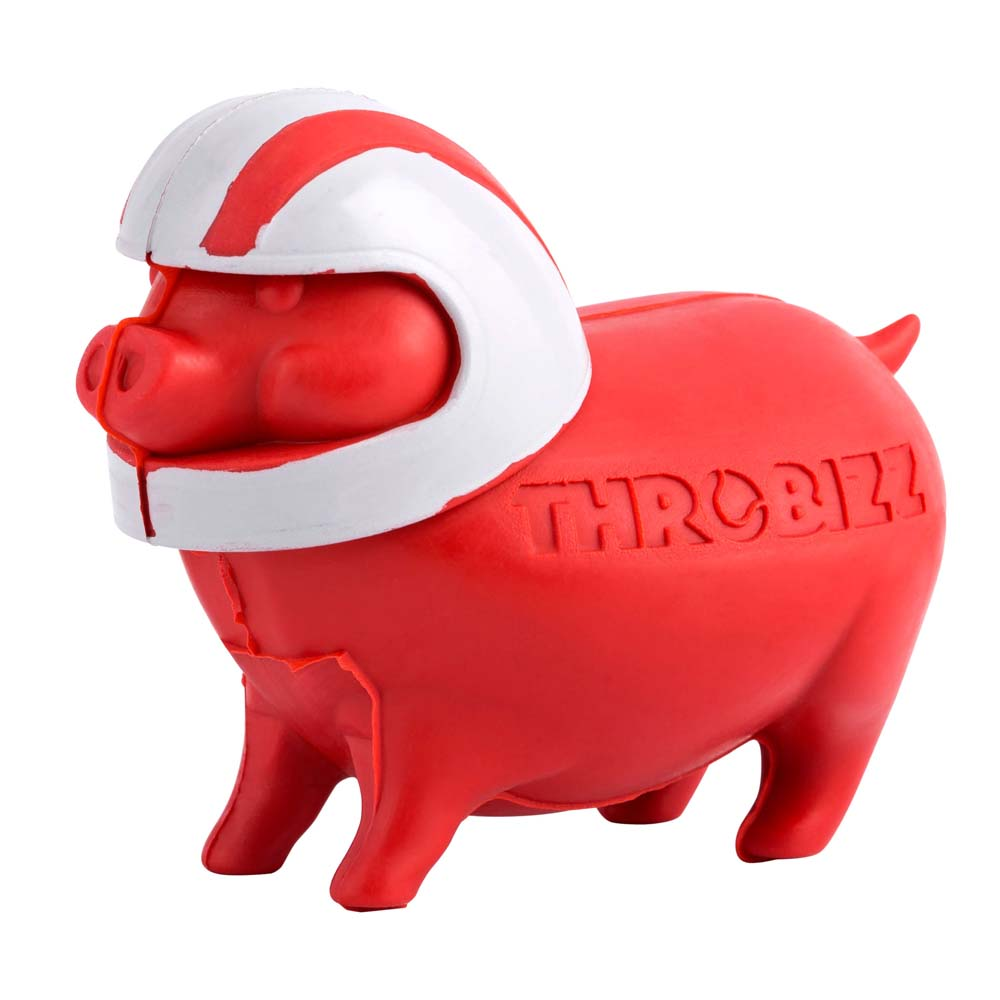 red pig shape dog ball wearing helmet
